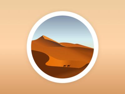 The desert circle simple illustration landscape camel desert