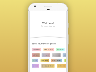Connecting colors and genres onboarding tv shows flat app branding ux ui design genre movie color