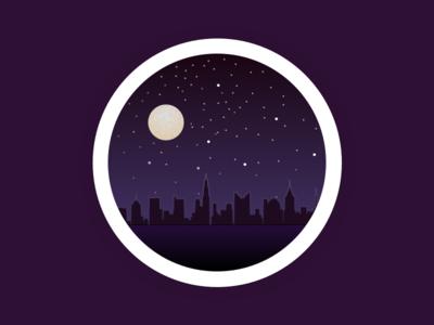 City at night moon dark skyscraper city night flat web vector icon design  ui illustration