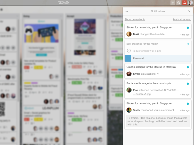 Reimagined Trello notifications notification bar notifications web redesign concept branding design ui ux trello