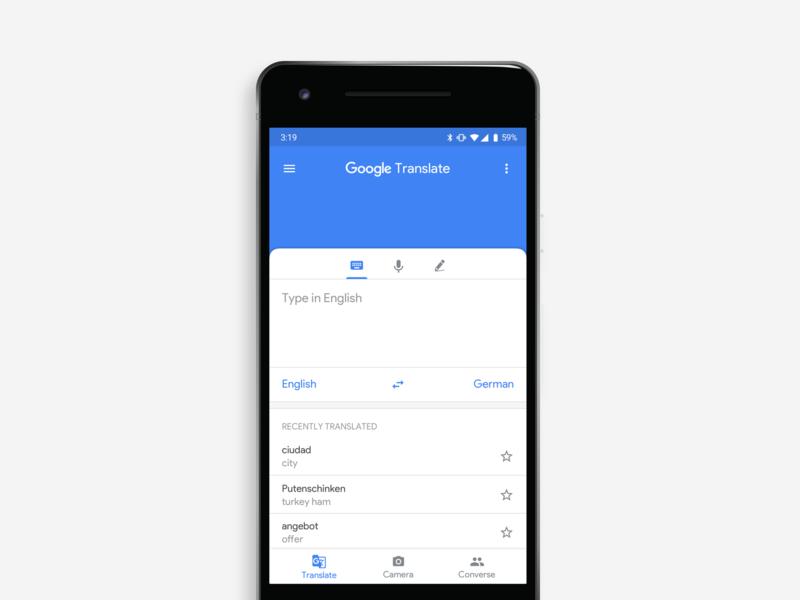 Rethinking Google Translate material design 2 translate google app design redesign concept ux ui app design