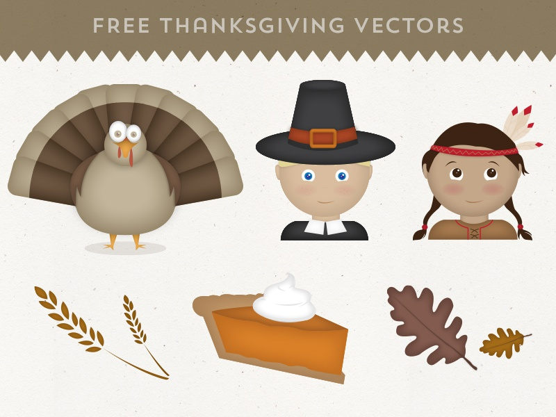 Free Thanksgiving Vectors thanksgiving holiday turkey pilgrim indian wheat pumpkin pie oak leaves leaves vector vectors freebie