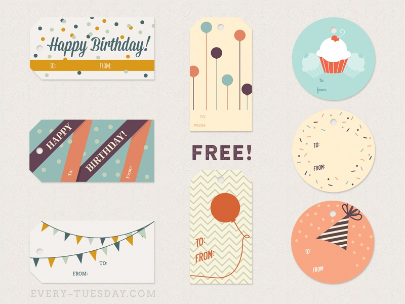 free birthday gift tags by teela cunningham dribbble dribbble
