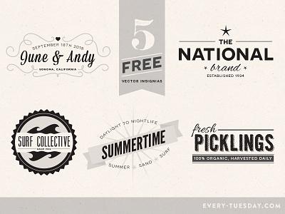 Free Vector Insignias free freebie freebies vector insignias illustrator typography retro vintage type badges badge