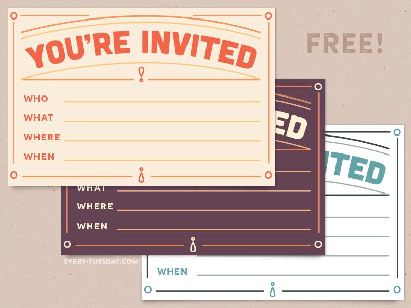Free Invitation Postcard free freebie freebies invitation invite postcard party celebration celebrate fill in the blank retro printable