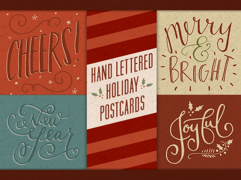 Hand Lettered Holiday Postcards hand lettered hand lettering lettering postcards holiday christmas new years card greeting hand drawn illustrated template