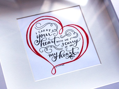 I Carry Your Heart With Me analog poetry e.e. cummings doodle hand drawn lettering hand lettering heart