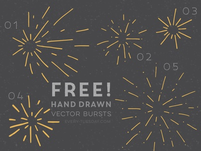 Free Hand Drawn Vector Bursts bursts hand drawn vector fireworks happy new year every-tuesday free freebie freebies