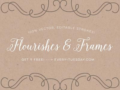 Free Vector Flourishes + Frame Elements vector flourishes decorative frame frames elements curls swirls flourish free freebie freebies