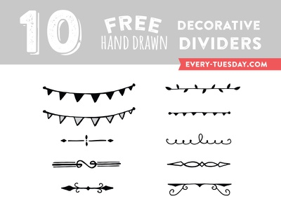 10 Free Hand Drawn Decorative Dividers free freebie freebies decorative dividers divider hand drawn illustrated vector bunting separator elements
