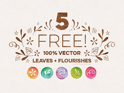 5 Free Vector Leaves and Flourishes assets elements decorative flourish hand drawn flourishes leaves vector freebies freebie free