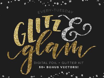 Glitz + Glam Kit textures texture vectors brushes photoshop pattern layer styles glitter hot foil foil glam glitz