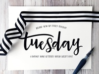 Tuesday Script hand writing hand drawn lettering pretty bouncy brush script hand lettered typeface font script tuesday