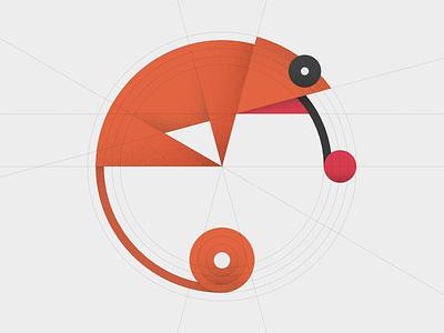 chameleon. simple shapes affinity designer texture minimal illustration geometry chameleon animal