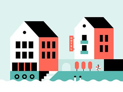 village. float sea building hotel house affinity minimal geometry flat vilage