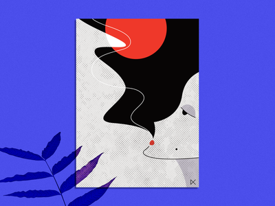 waiting poster. wall texture hookah smoking woman illustration poster