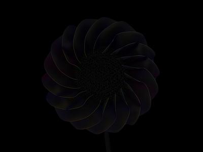 Black flower floral design graphic hologram holo cinema 4d flower