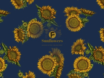 Sunflower Bouquet Blue Color Botanical Pattern textile pattern nature exotic floral print textile print dress leggings floral illustrations garden branding flowers floral pattern pattern surface design fabric pattern seamless pattern illustration fabric design botanical