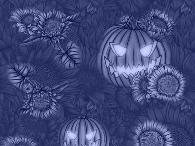 Sunflowers Pumpkins Halloween Floral Pattern halloween theme illustration blue pattern blue illustration halloween pumpkin scary design spooky pattern pumpkins pattern sunflower design sunflower pattern blue floral pattern halloween floral pattern sunflower illustration floral illustration illustration floral pattern botanical illustration halloween pattern dribbbleweeklywarmup