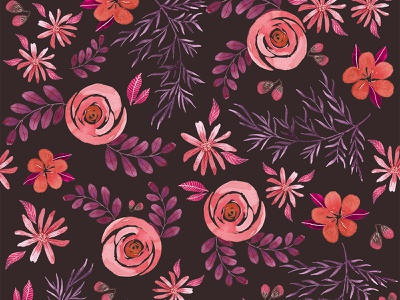 Roses and cherry blossom watercolor pattern watercolorwallpaper watercolorart seamlesspatternfloral seamlesspattern patterndesigner redpalette pinkpalette surfacedesign cherry blossoms roses watercolor illustration