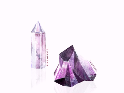 Crystals naturerocks witchy witch pink rosequartz amethyst drawing shopart illustration watercolor illustration watercolorart