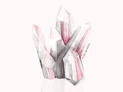 Rose quartz stone pinkstone rosequartz witchy illustration drawing shopart watercolor illustration watercolorart