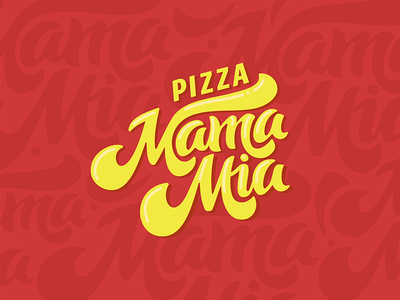 Logo Pizza 1 logo logotype calligraphy typography lettering pizza food red