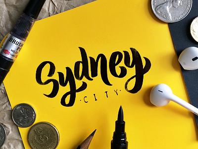 Sydney city  handtype type brushpen letter calligraphy sydney lettering