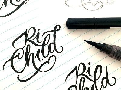RiChild sketch kids handlettering lettering logotype logo jewelry