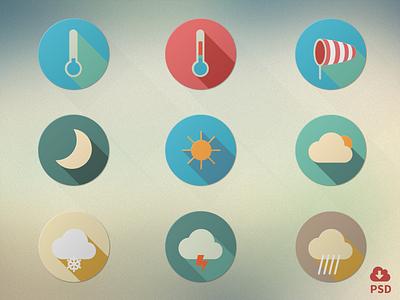 Flat Weather Iconset flat design vector freebie psd weather