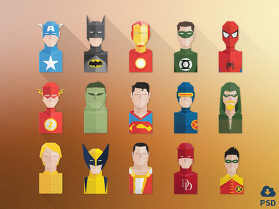 Super Hero Avatars avatar illustration vector angle minimal paper fold