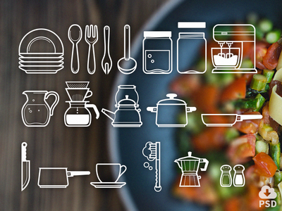 Free Icon Set: Cutlery Icons icons vector design outline psd freebie free