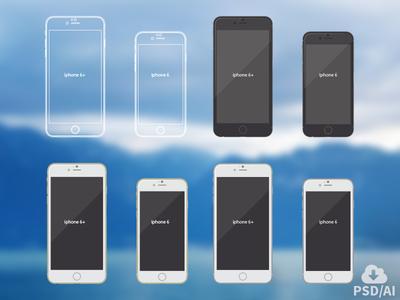 Iphone 6 vector mockups