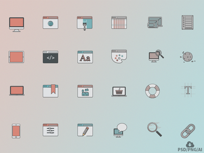 Free Web Design Icon Set icons web design vector design outline icon psd freebie free
