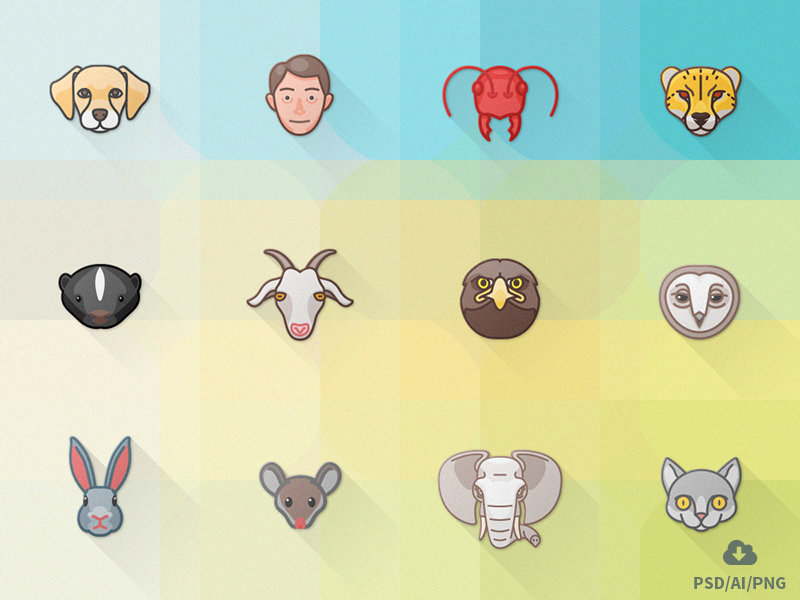 Free Animal Attributes Icon Set free freebie psd icon outline design vector animals material flat icons