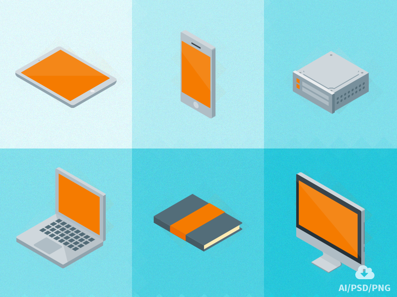 Free set of Isometric Material Icons  free freebie psd icon design vector stationary flat icons