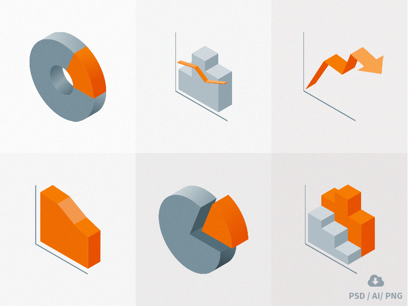 Freebie! Isometric Material Icons vol 3 - Charts chart free freebie psd icon design vector charts flat icons