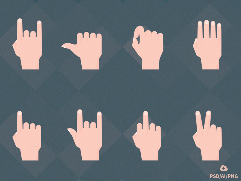 Free Set of Material Design Hand Gestures illustrator material icons free freebie psd hands gestures material design