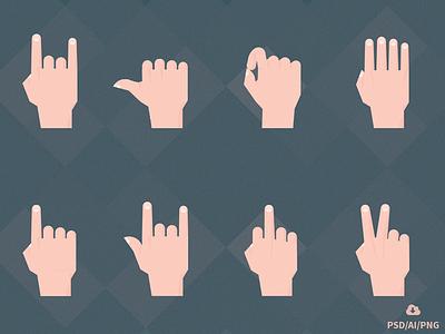Free Set of Material Design Hand Gestures illustrator material icons free freebie psd hands gestures material design