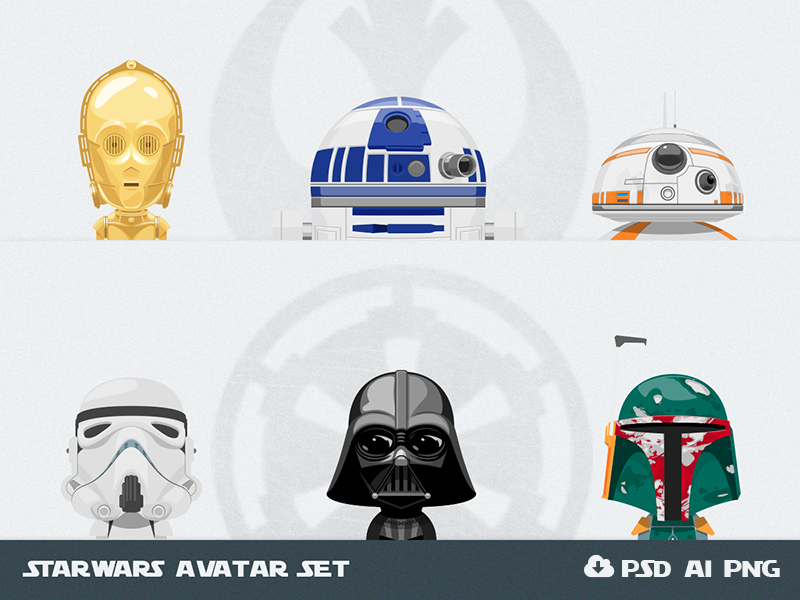 Free Set of Star Wars Avatars darth vader design psd vector starwars star wars avatars free freebie