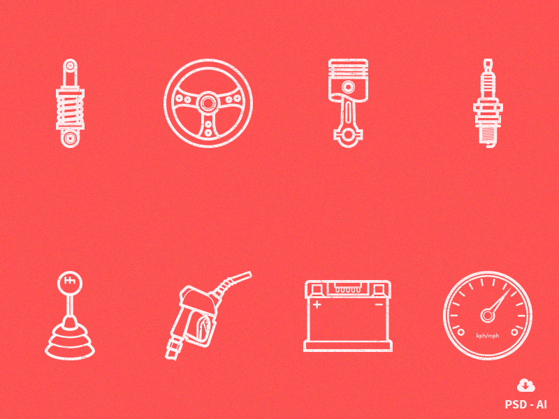 Free Car Parts Outline Icon Set free freebie psd icon design vector car icons