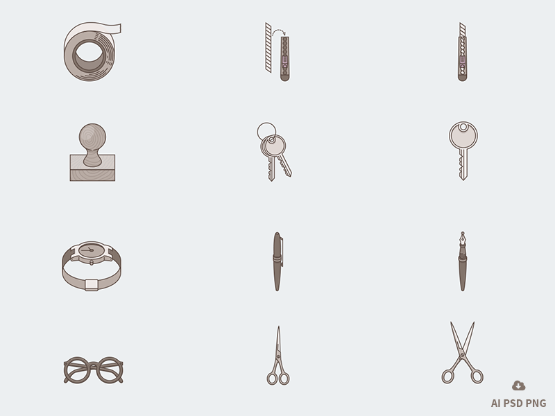 New Free Set of 12 Tone Stationary Icons free freebie psd icon design vector stationary office tone icons
