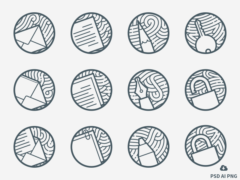 Zen icons: A Free Set of 12 minimal outline Icons free freebie psd icon design vector stationary office icons