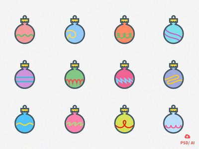 Free Set of 12 Christmas Ornaments icons ornaments christmas vector design icon psd freebie free