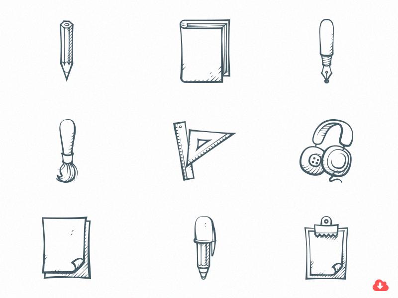 Free Set of 9 Handdrawn Icons free freebie psd icon design vector handdrawn icons