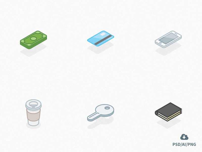 Free Set of Everyday Carry Isometric Icons Ver 2 everyday carry icons outline isometric stationary vector design icon psd freebie free