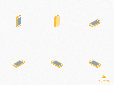 Free Set of Isometric iPhone 6s icons - gold version