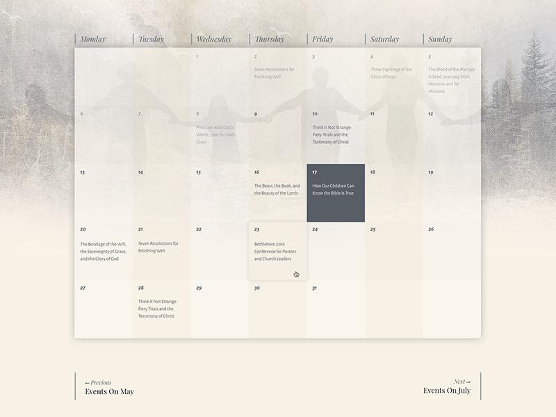 Event Calendar design theme church calendar event events