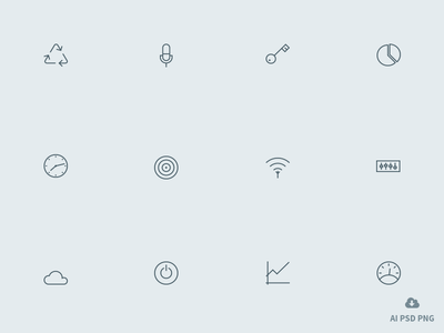 New Free Set of 12 Outline icons