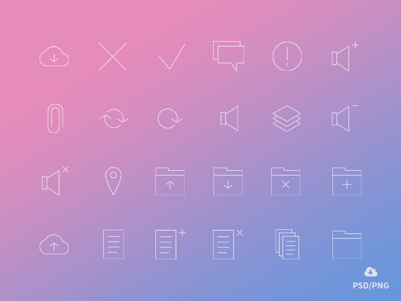 Freebie: Minimal Gradient Outline Management Icons Pack